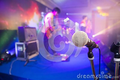 Microphone for singers on stage Editorial Stock Photo