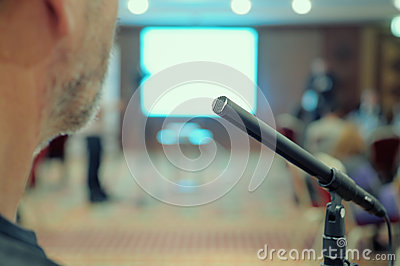 Microphone stands in a Conference Hall.