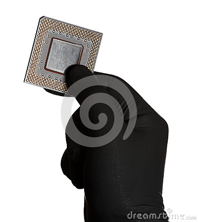 Microprocessor and black gloves