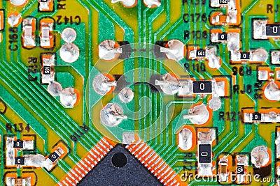 Microprocessor circuit board macro shot