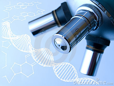 Microscope and DNA molecule.