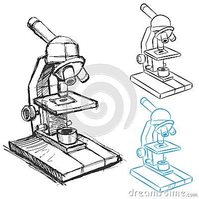 Microscope drawing set royalty free stock image image 24496796