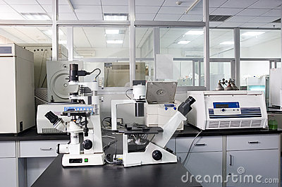 Microscope in a lab
