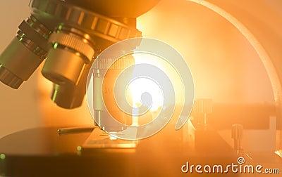 Microscope Lens With Orange Light