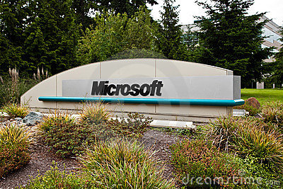 Microsoft Corporation Campus Sign Editorial Photo