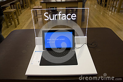 Microsoft Surface in Microsoft Store Editorial Stock Image