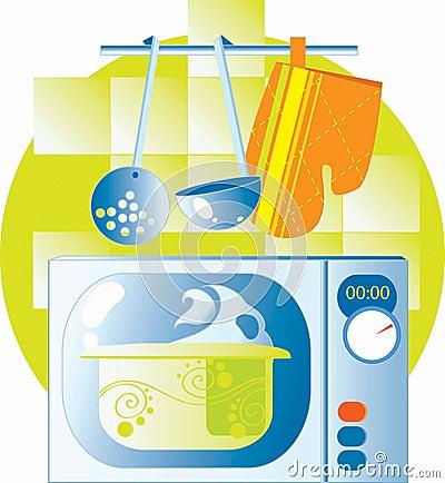 Microwave in kitchen interior