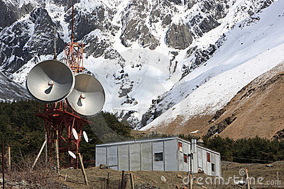 Microwave tower in mountains