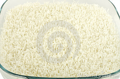 Microwaved cooked white rice