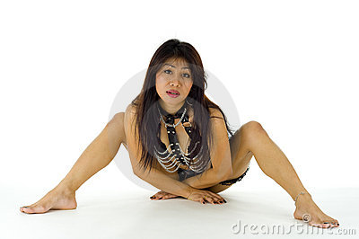 Mid adult asian posing in lingerie