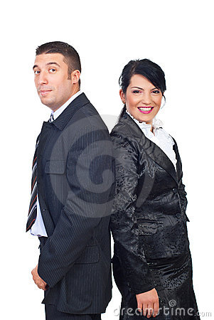 Mid adult couple in elegant suits