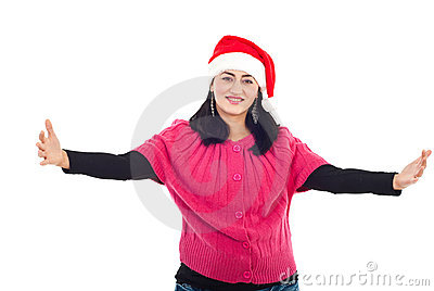 Mid adult Santa helper woman with open hands