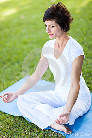 Mid age woman yoga