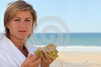 Mid aged woman near the sea