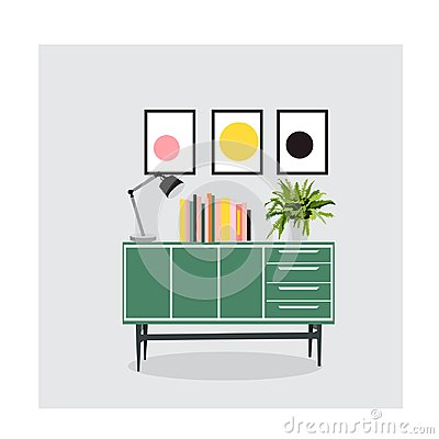 Free Mid Century Modern Furniture Set Collection.vector Illustration 1950 1960. Interior Design Drawing. Stock Photo - 113823710