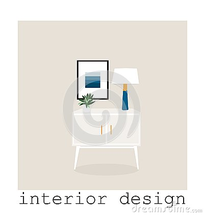 Free Mid Century Modern Furniture Set Collection.vector Illustration 1950 1960. Interior Design Drawing. Stock Image - 113826711