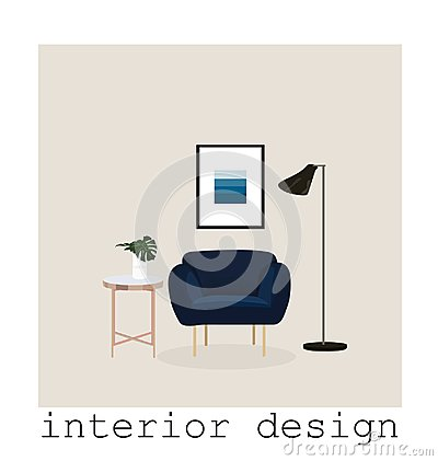 Free Mid Century Modern Furniture Set Collection.vector Illustration 1950 1960. Interior Design Drawing. Royalty Free Stock Photos - 113828148