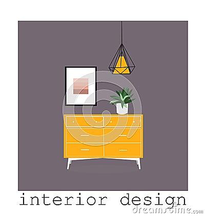 Free Mid Century Modern Furniture Set Collection.vector Illustration 1950 1960. Interior Design Drawing. Stock Photos - 113834093