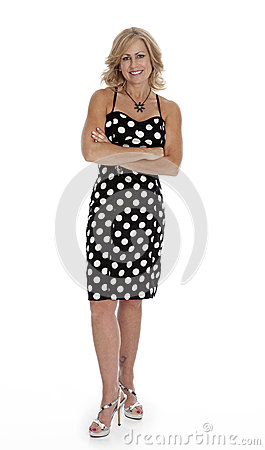 Mid-Forties Woman Standing on White
