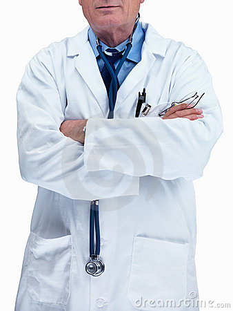 Mid section of a confident doctor against white
