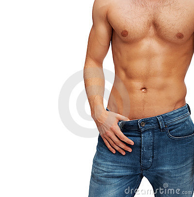 Mid section a muscular young man posing