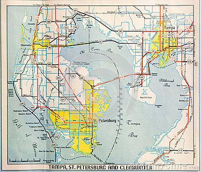 Mid Twentieth Century Map of Tampa