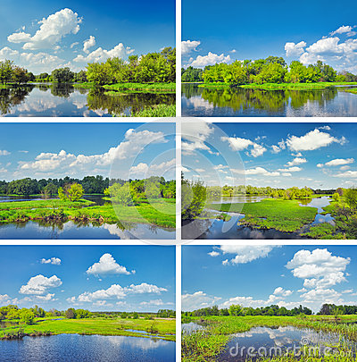 Midday landscapes collection with Narew river.