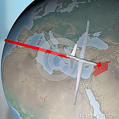 Midden-Oosten zoals die van ruimte, hommel wordt gezien Redactionele Fotografie