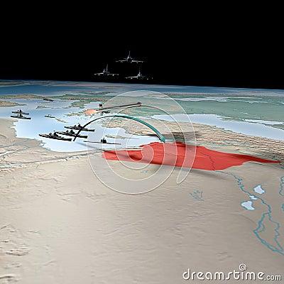 Midden-Oosten zoals die van ruimte, Syrië wordt gezien Redactionele Afbeelding