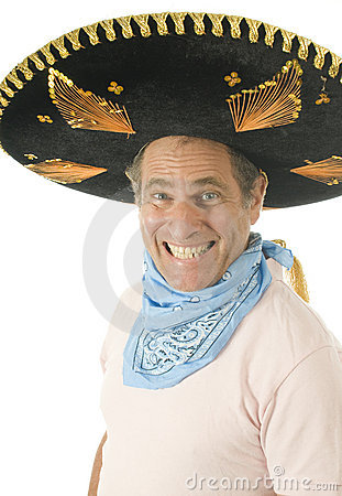 Middle age male wearing Mexican somebrero hat cow