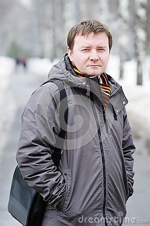 Middle age man outdoor in winter