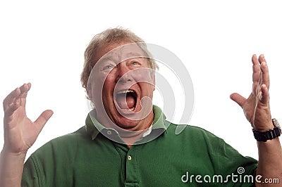Middle age senior man emotional screaming in shock
