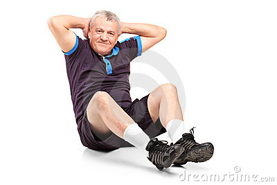 A middle age senior man exercising