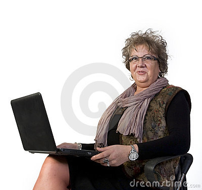 Middle Age Woman with Laptop