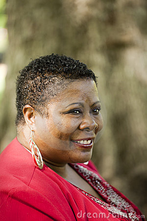 Middle Aged Black Woman Outdoor Portrait Red Top Stock