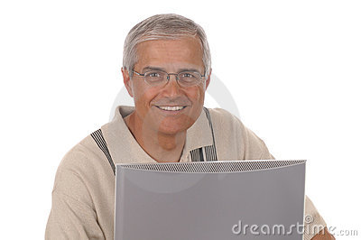 Middle aged Businessman Computer Monitor