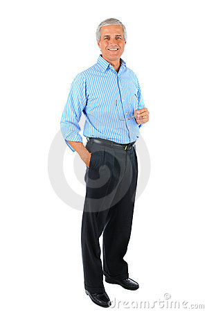 Middle aged Businessman hand in pocket and Glasses