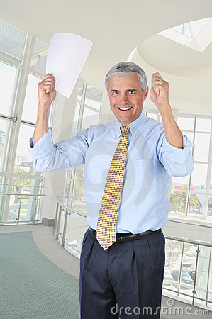 Middle Aged Businessman Hands Raised