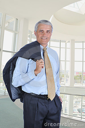 Middle aged Businessman in Ofice Jacket Shoulder