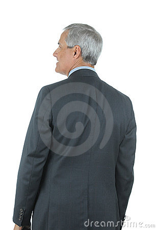 Middle aged Businessman seen from behind