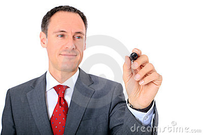 Middle-aged businessman starts to draw