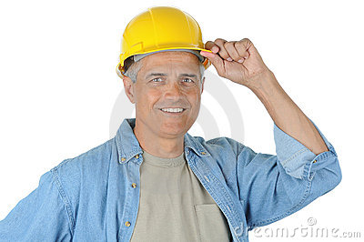 Middle aged Construction Worker Hand on Hard Hat