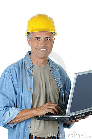 Middle aged Construction Worker Holding Laptop
