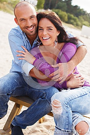 Middle-aged couple on a beach