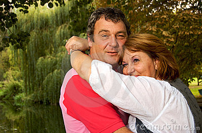 Middle Aged Couple Hugging