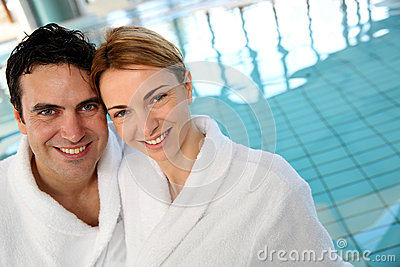 Middle-aged couple in spa center