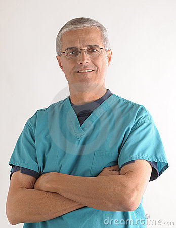 Middle aged Doctor with Arms Folded