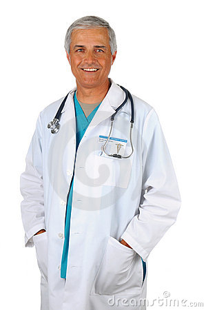 Middle Aged Doctor with hands in pockets