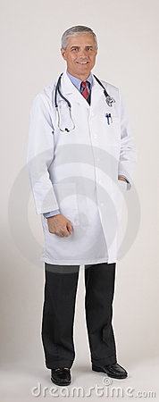 Middle aged Doctor in Lab Coat Full Length