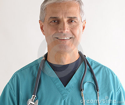 Middle aged Doctor in Scrubs and Stethoscope
